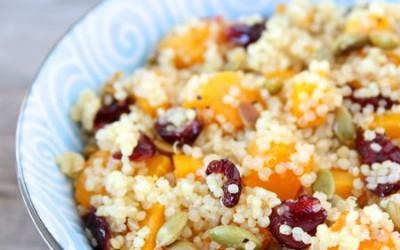 Quinoa Salad with Butternut Squash, Dried Cranberries & Pepitas
